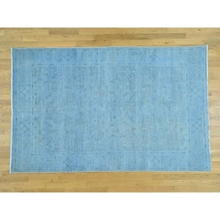 Hand Knotted Blue Overdyed & Vintage with Wool Oriental Rug - 5'10 x 9'2