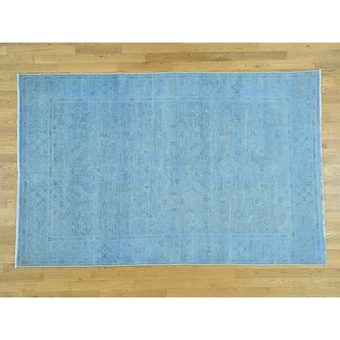 Hand Knotted Blue Overdyed & Vintage with Wool Oriental Rug - 510 x 92