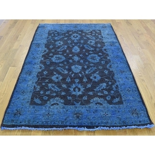 Hand Knotted Blue Overdyed & Vintage with Wool Oriental Rug - 4'1 x 6'1