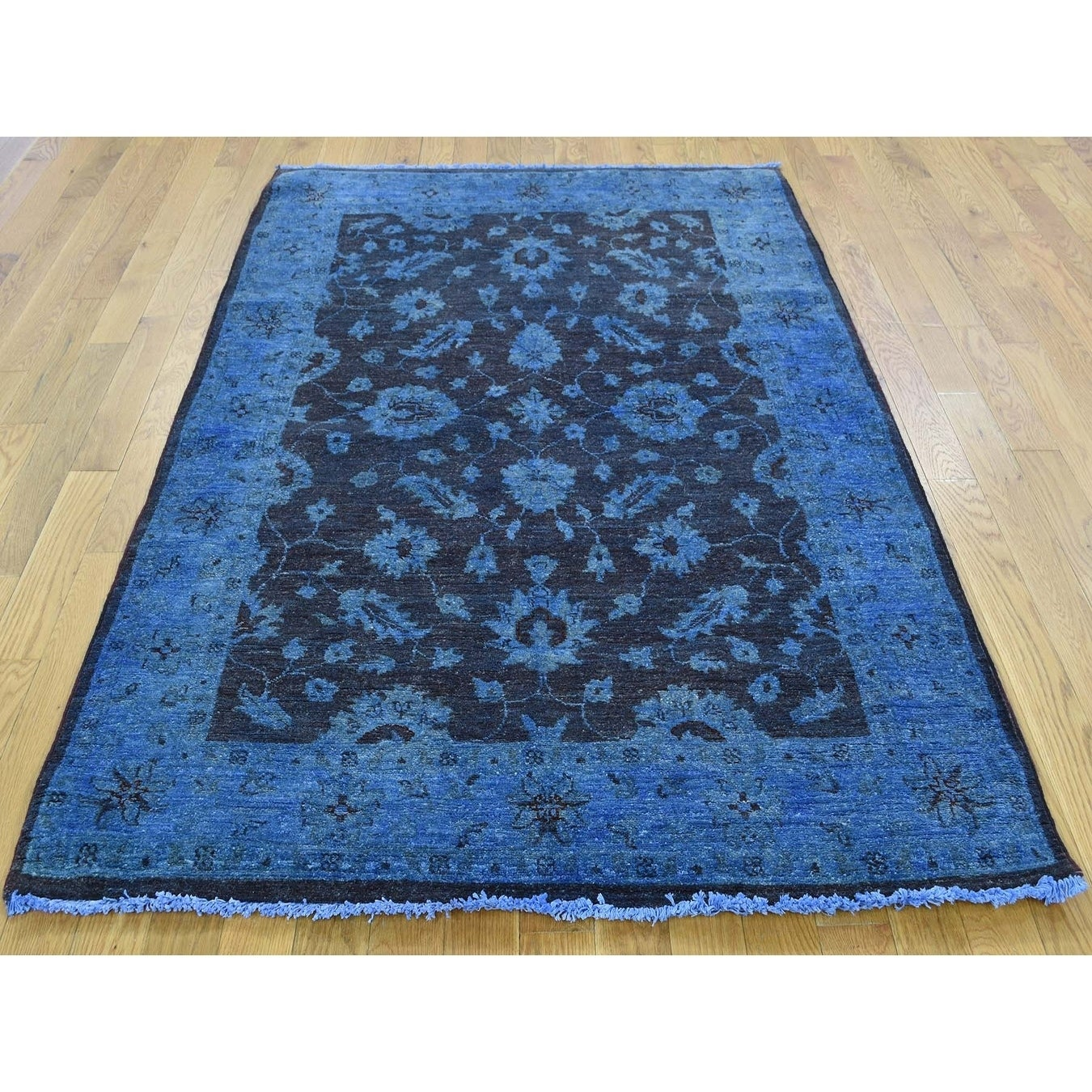 Hand Knotted Blue Overdyed & Vintage with Wool Oriental Rug - 41 x 61