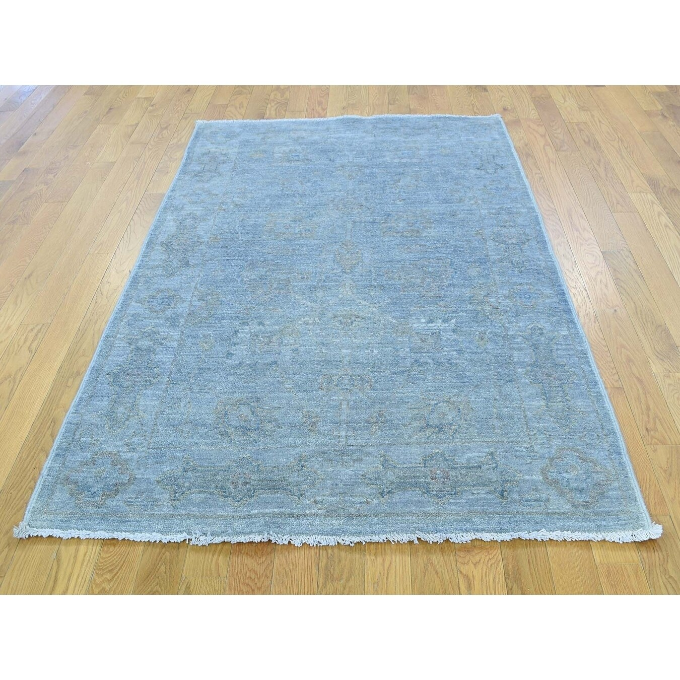 Hand Knotted Blue White Wash Vintage & Silver Wash with Wool Oriental Rug - 4 x 6