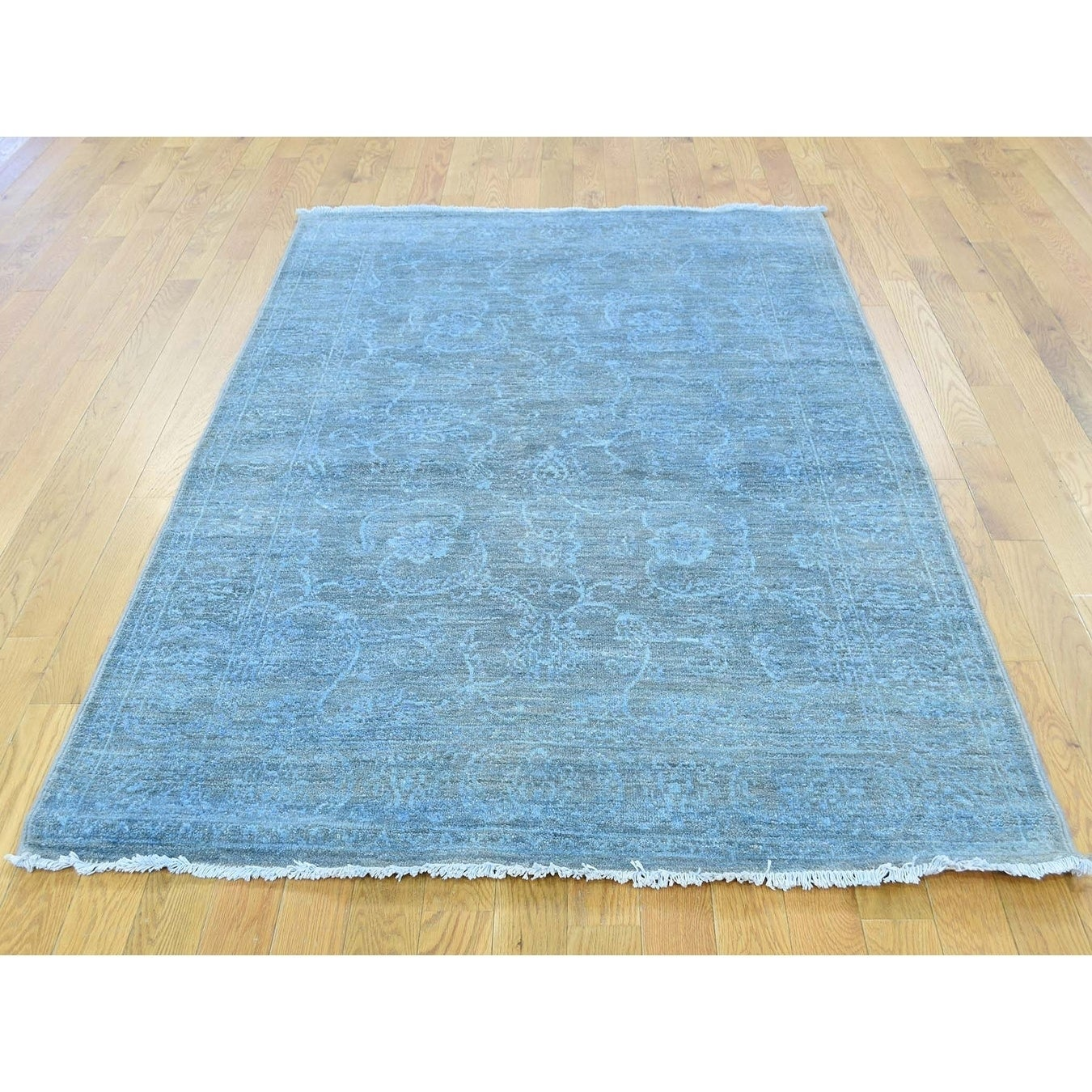 Hand Knotted Blue Overdyed & Vintage with Wool Oriental Rug - 42 x 61