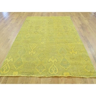 Hand Knotted Yellow Overdyed & Vintage with Wool Oriental Rug - 5' x 6'7
