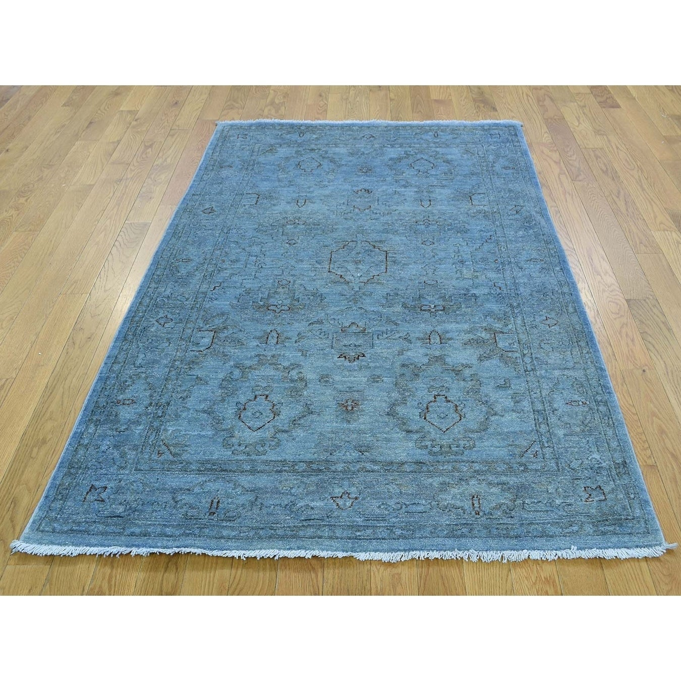 Hand Knotted Blue Overdyed & Vintage with Wool Oriental Rug - 4 x 510