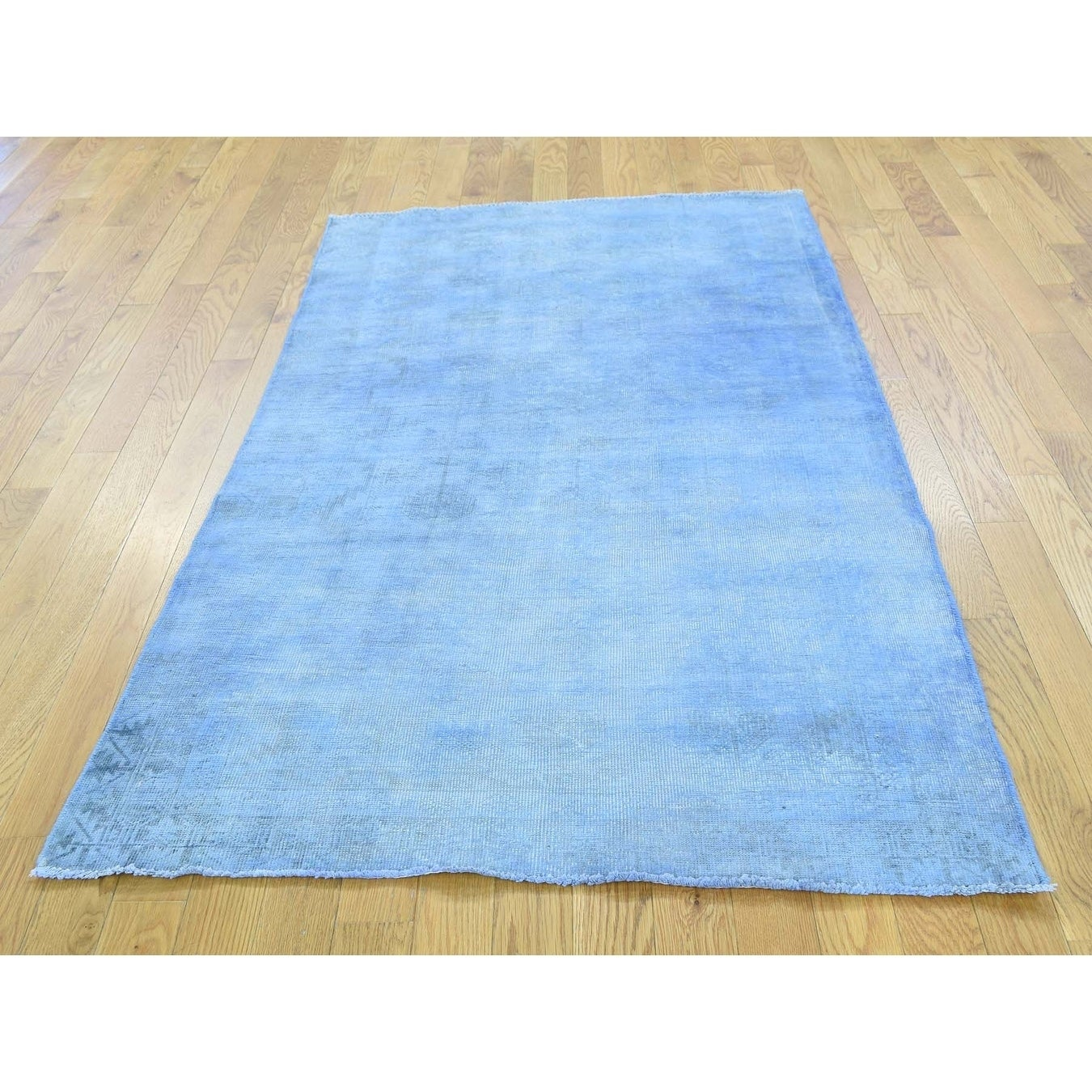 Hand Knotted Blue Overdyed & Vintage with Wool Oriental Rug - 37 x 65