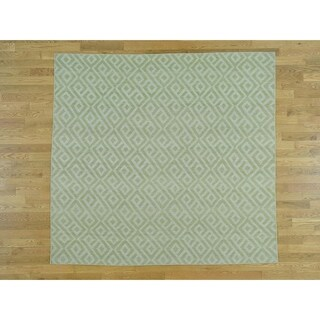 Hand Knotted Green Flat Weave with Wool Oriental Rug (6'9 x 7'2)