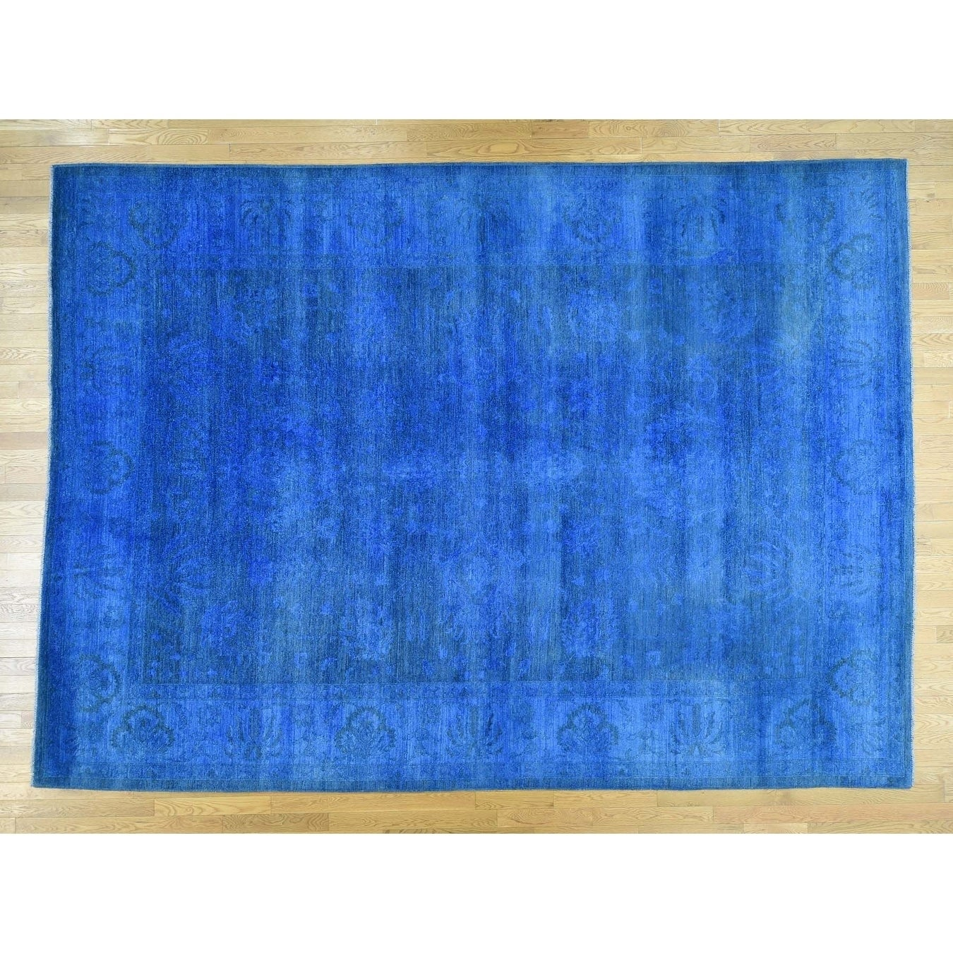 Hand Knotted Blue Overdyed & Vintage with Wool Oriental Rug - 10 x 138