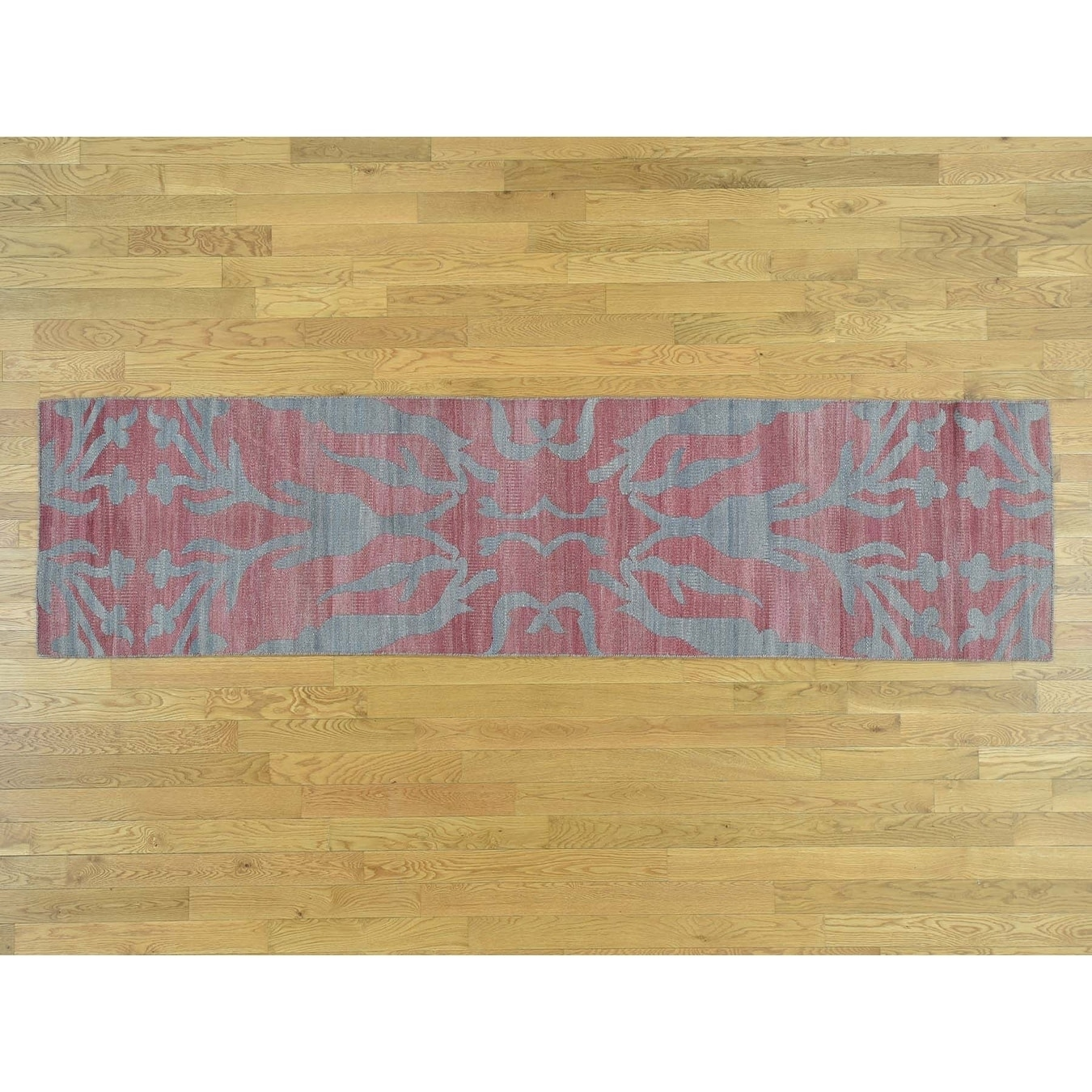 Hand Knotted Pink Flat Weave with Wool Oriental Rug - 26 x 101
