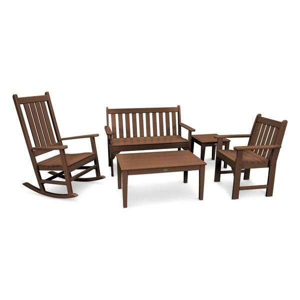 Admirable Polywood Vineyard 5 Piece Outdoor Bench And Rocking Chair Set Pdpeps Interior Chair Design Pdpepsorg