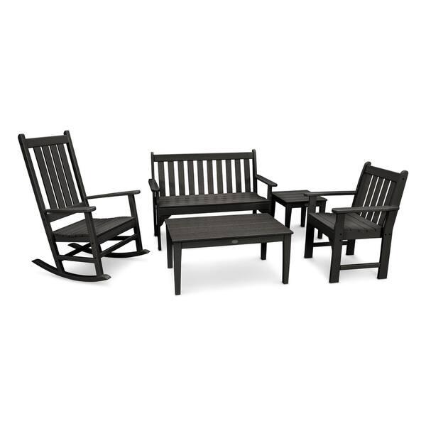 Superb Polywood Vineyard 5 Piece Outdoor Bench And Rocking Chair Set Creativecarmelina Interior Chair Design Creativecarmelinacom