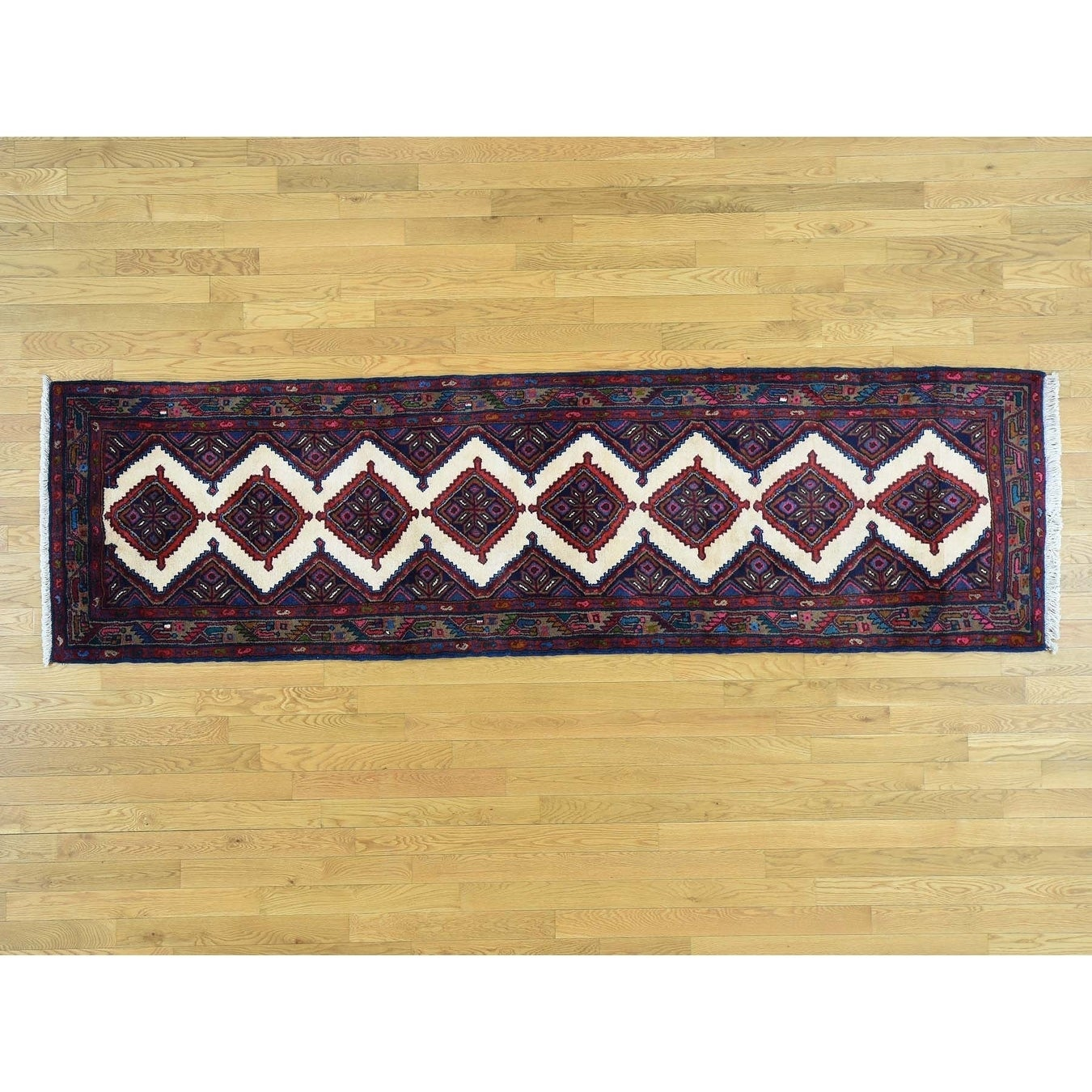 Hand Knotted Ivory Clearance with Wool & Silk Oriental Rug - 29 x 99