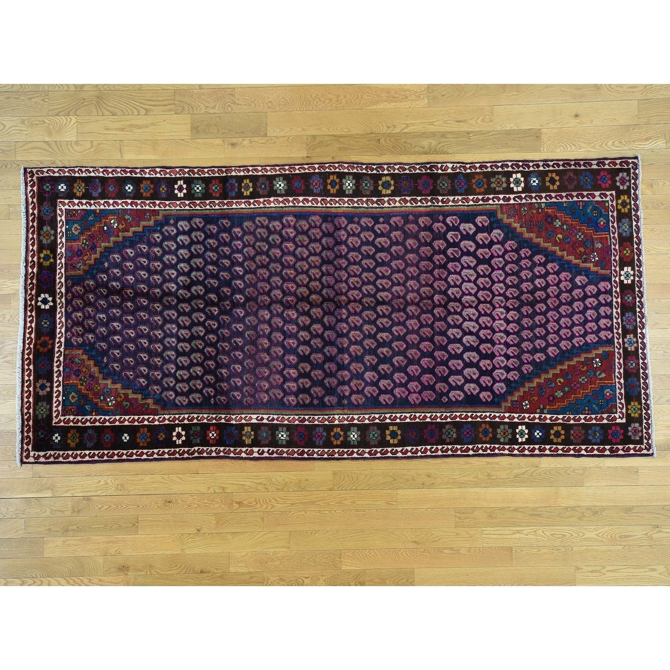 Hand Knotted Blue Persian with Wool Oriental Rug - 55 x 112