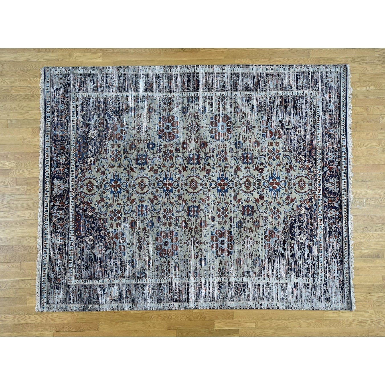Hand Knotted Multicolored Fine Oriental with Wool & Silk Oriental Rug - 710 x 910