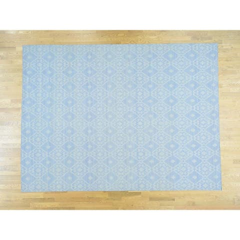 Hand Knotted Blue Flat Weave with Wool Oriental Rug - 9' x 12'1