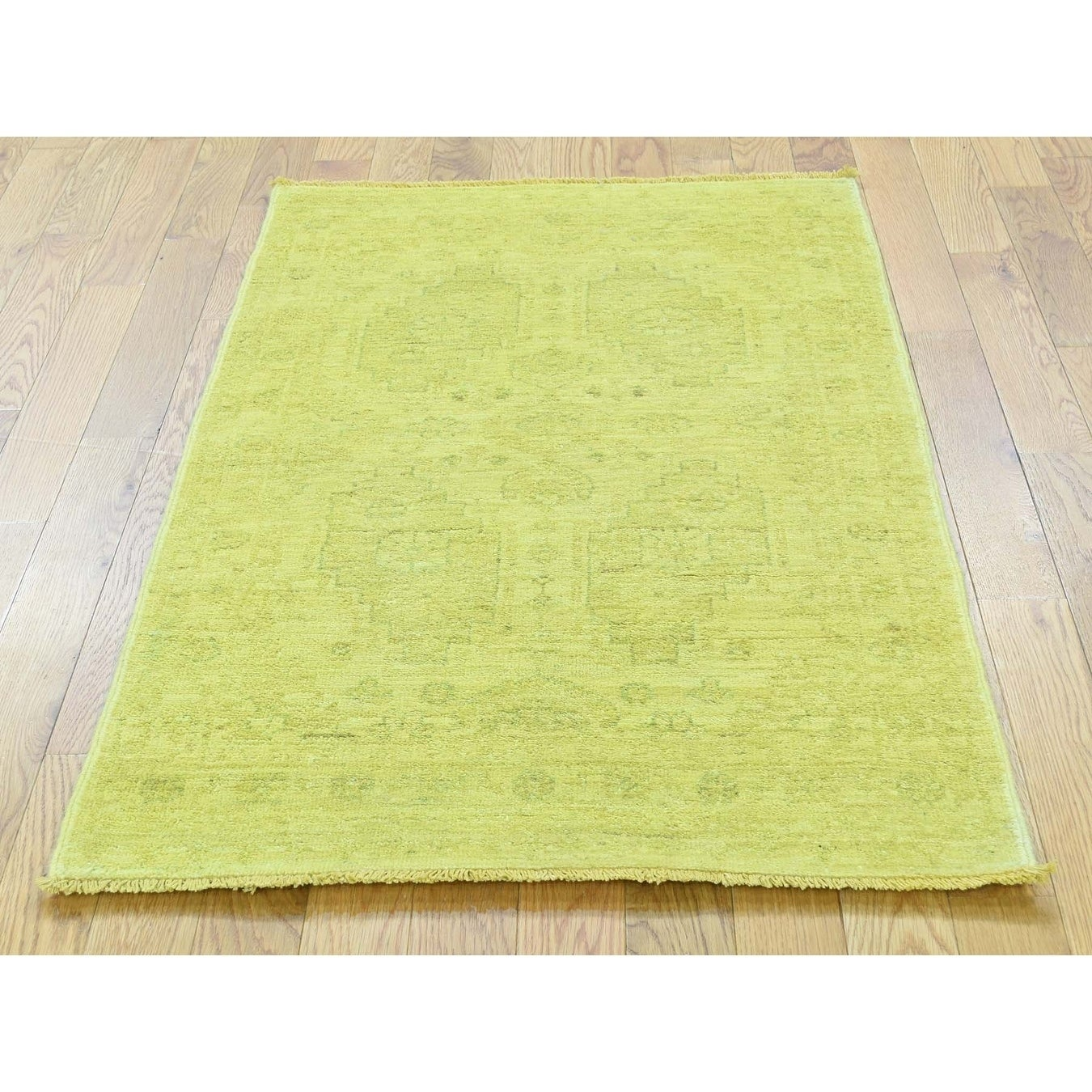 Hand Knotted Yellow Overdyed & Vintage with Wool Oriental Rug - 27 x 42