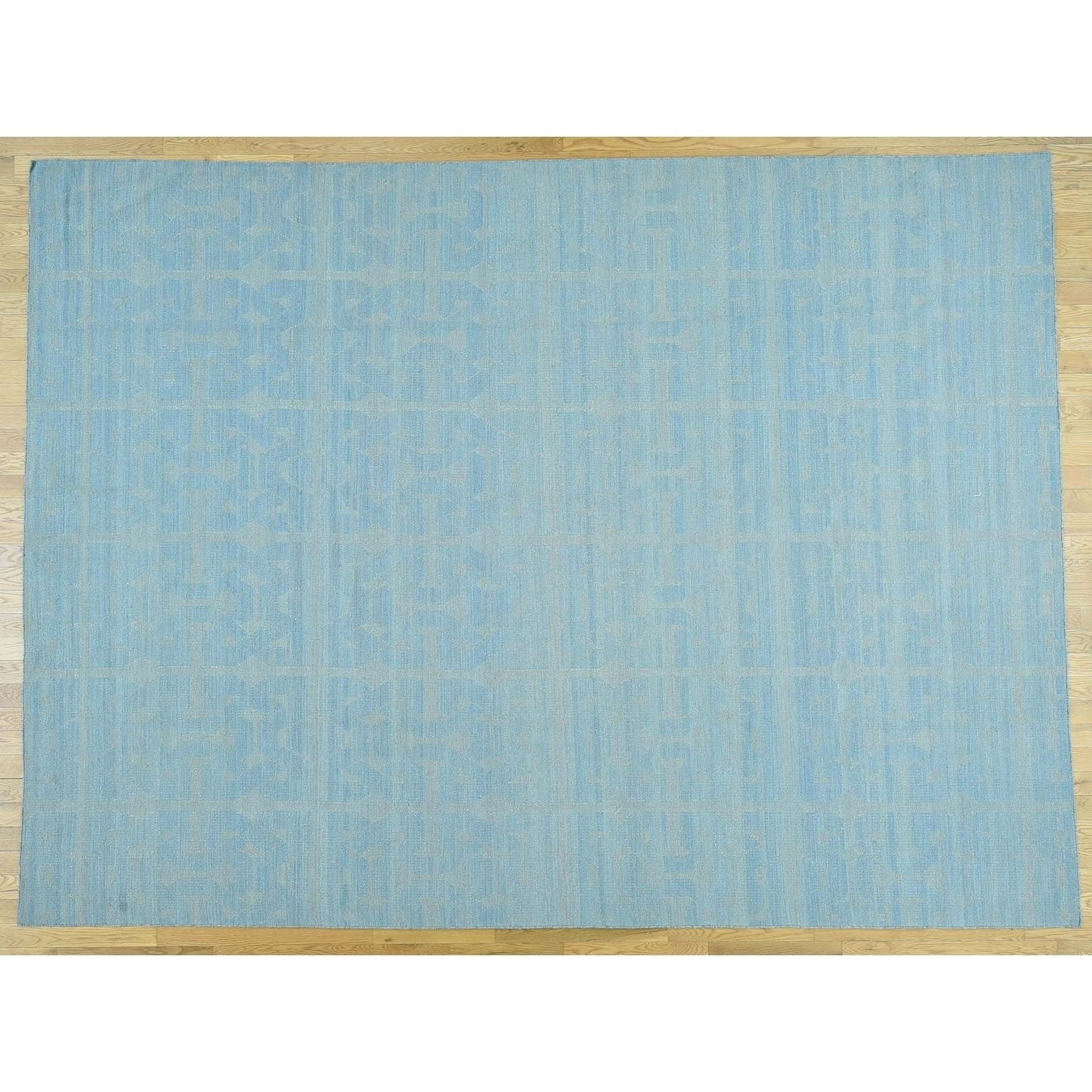 Hand Knotted Blue Flat Weave with Wool Oriental Rug - 9 x 122
