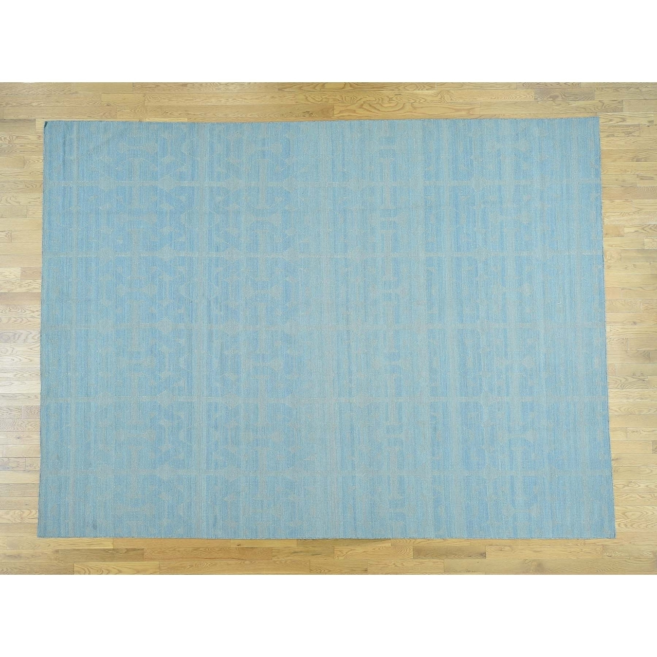 Hand Knotted Blue Flat Weave with Wool Oriental Rug - 10 x 139