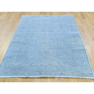 Hand Knotted Blue White Wash Vintage & Silver Wash with Wool Oriental Rug - 4' x 5'9