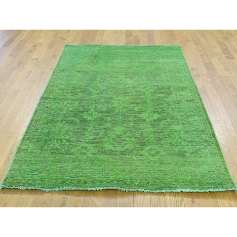 Hand Knotted Green Overdyed & Vintage with Wool Oriental Rug - 4'1 x 6'2