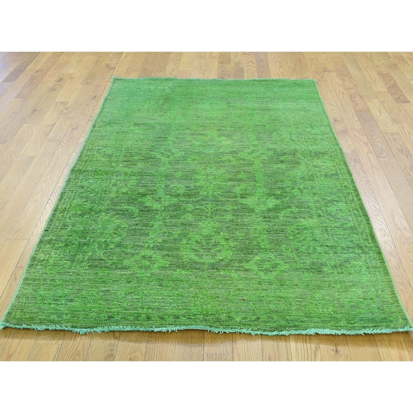 Hand Knotted Green Overdyed & Vintage with Wool Oriental Rug - 41 x 62