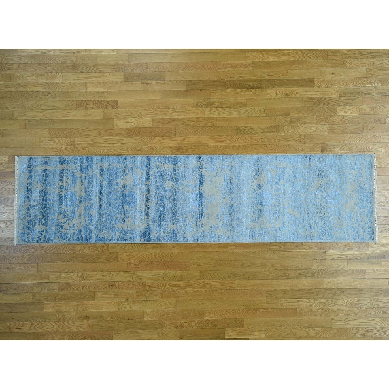 Hand Knotted Grey Modern & Contemporary with Wool & Silk Oriental Rug - 3 x 12