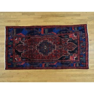 Hand Knotted Red Persian with Wool Oriental Rug - 4'10 x 9'
