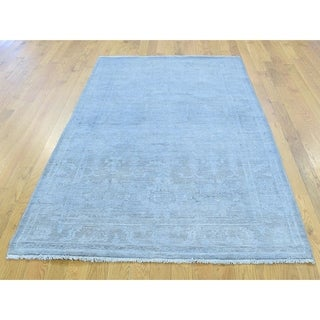 Hand Knotted Blue White Wash Vintage & Silver Wash with Wool Oriental Rug - 4'2 x 6'2