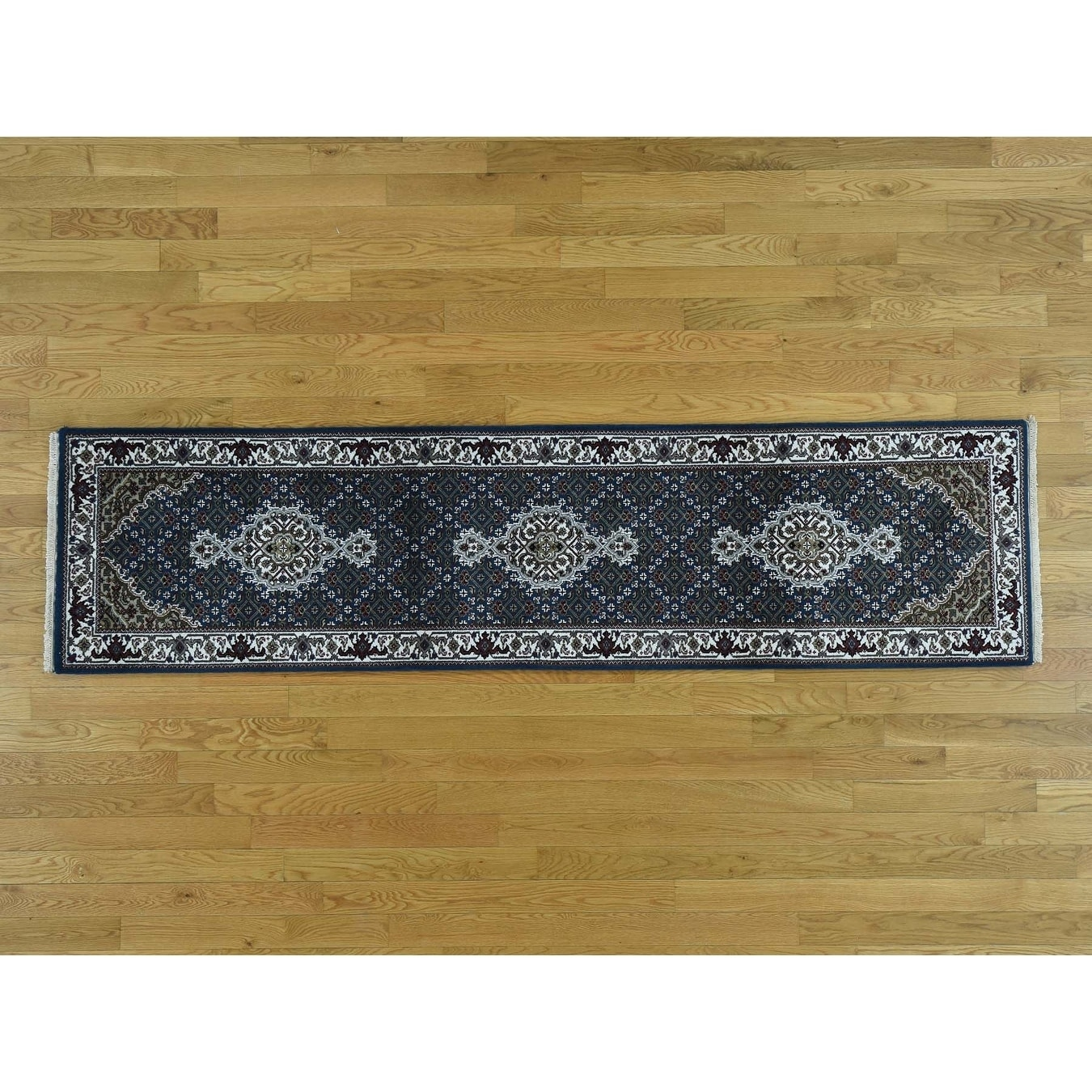 Hand Knotted Blue Wool and Silk with Wool & Silk Oriental Rug - 2 x 82