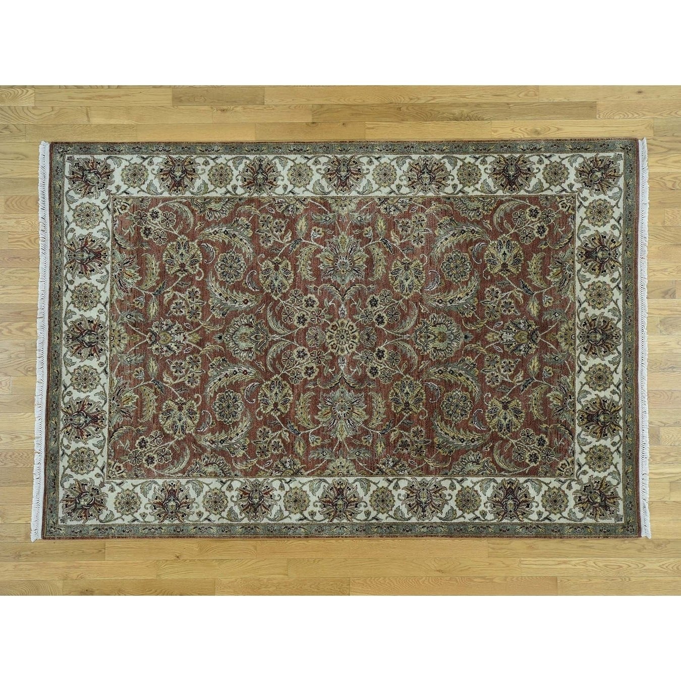 Hand Knotted Brown Rajasthan with Wool Oriental Rug - 6 x 810