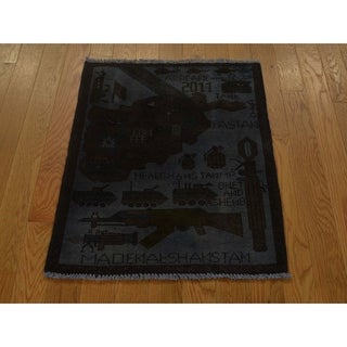 Hand Knotted Grey Overdyed & Vintage with Wool Oriental Rug - 2' x 2'8