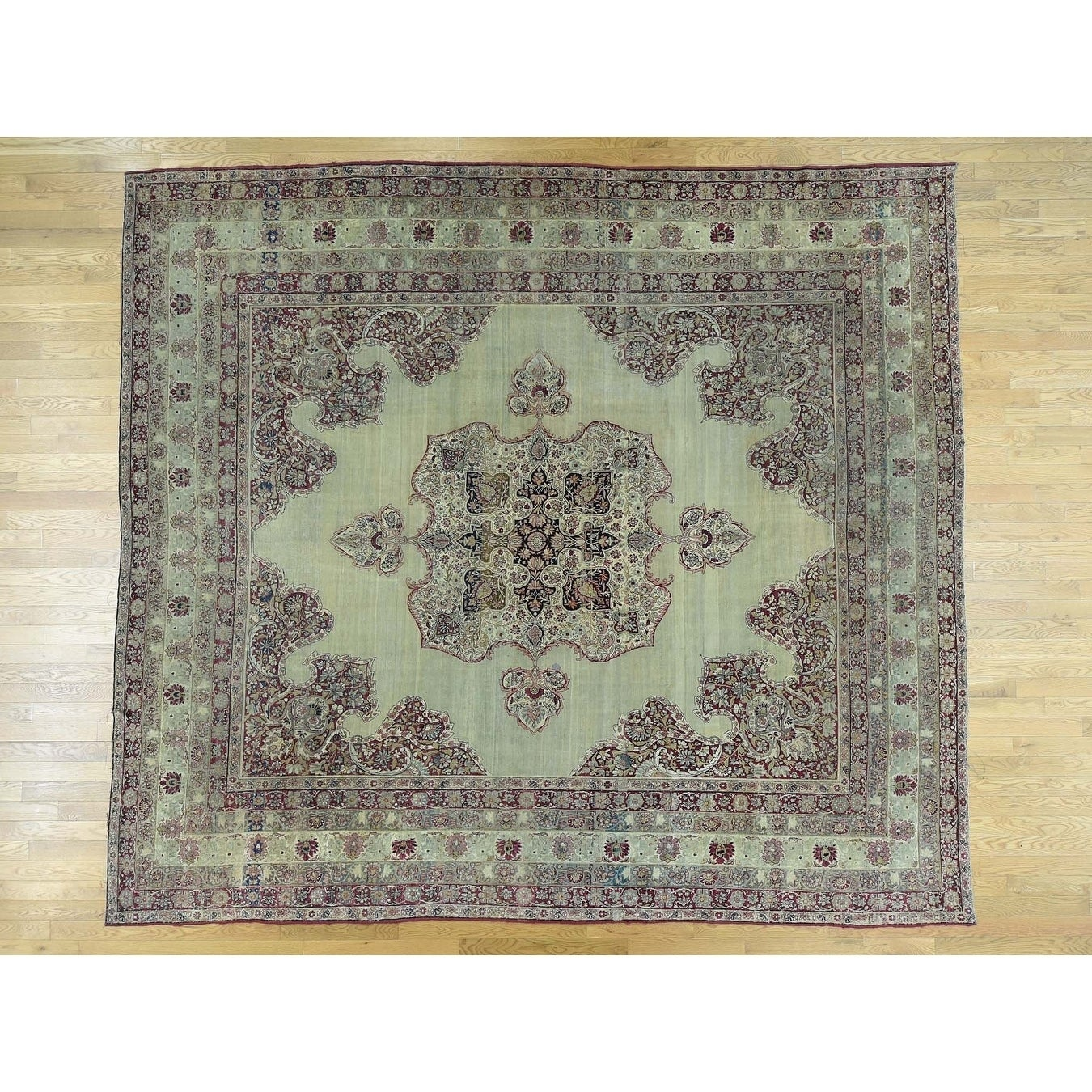 Hand Knotted Beige Antique with Wool Oriental Rug - 109 x 12