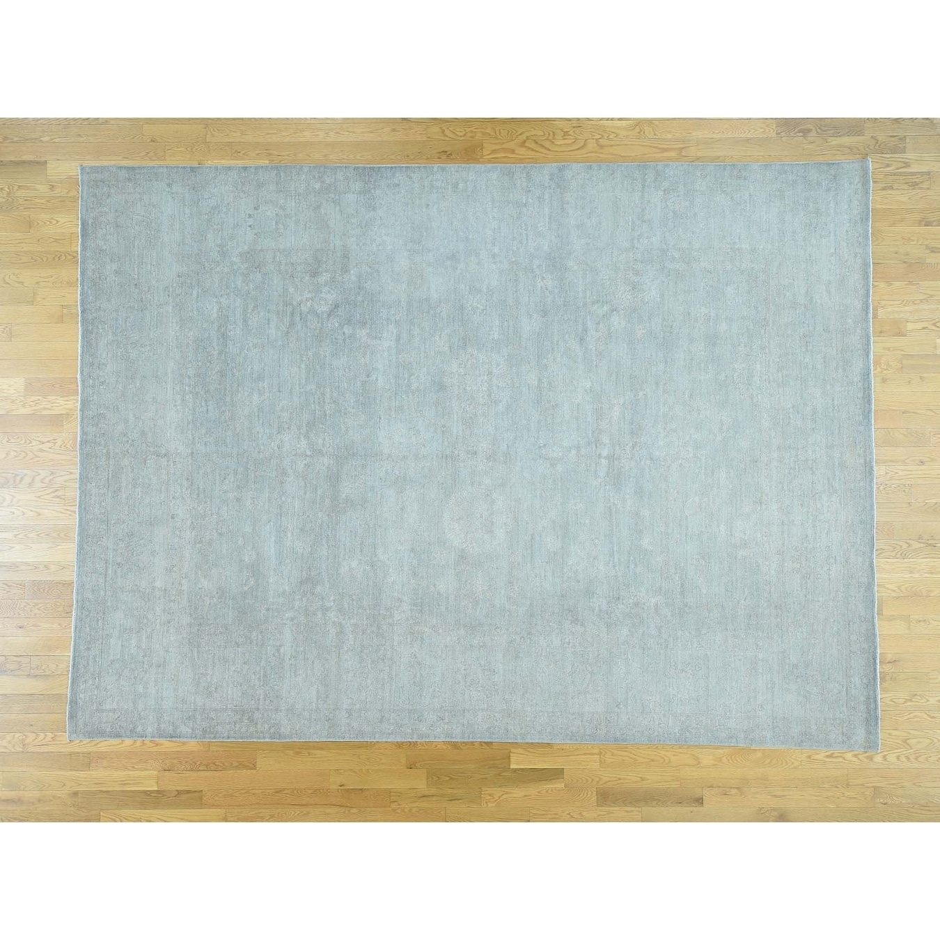 Hand Knotted Grey White Wash Vintage & Silver Wash with Wool Oriental Rug - 86 x 117