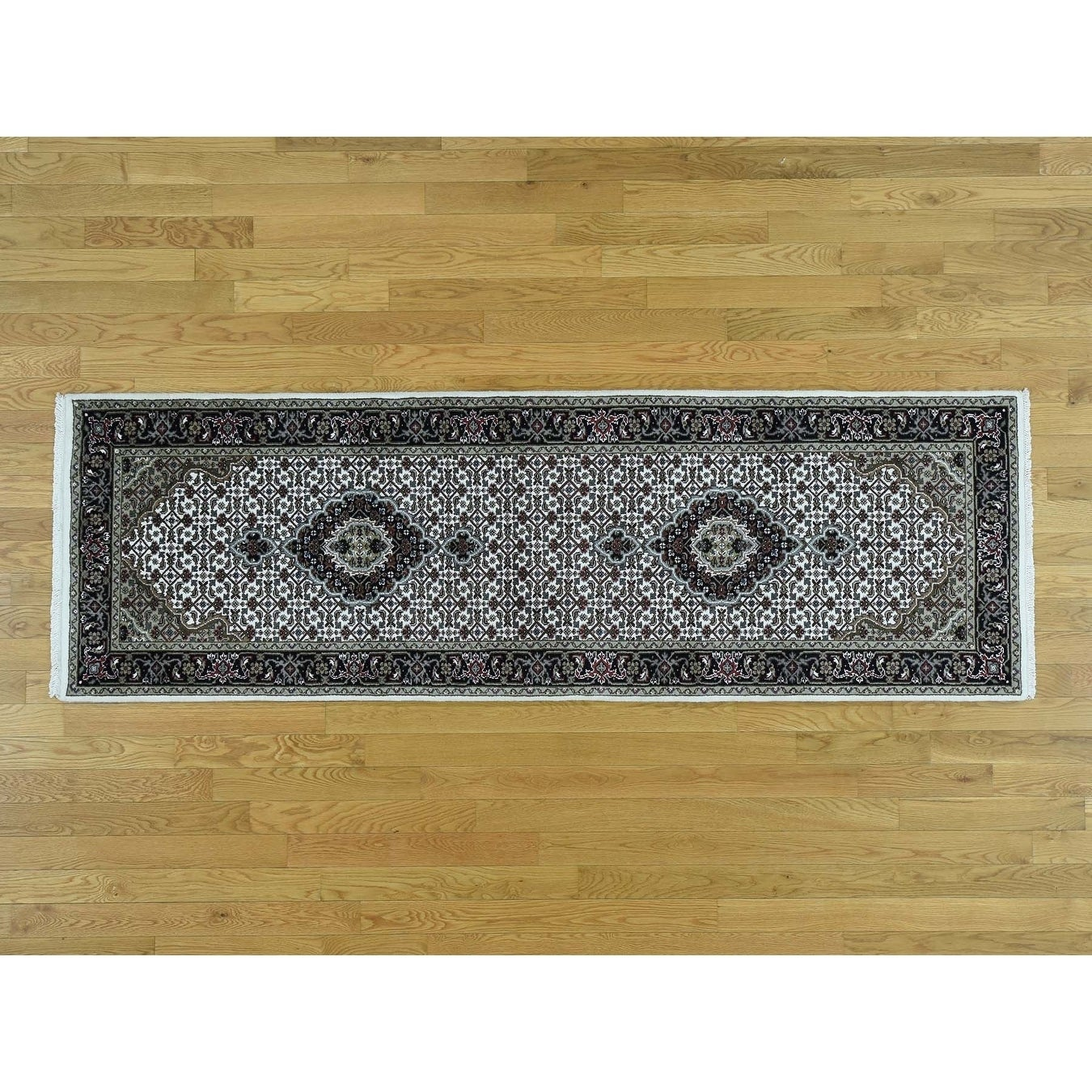 Hand Knotted Ivory Wool and Silk with Wool & Silk Oriental Rug - 27 x 8