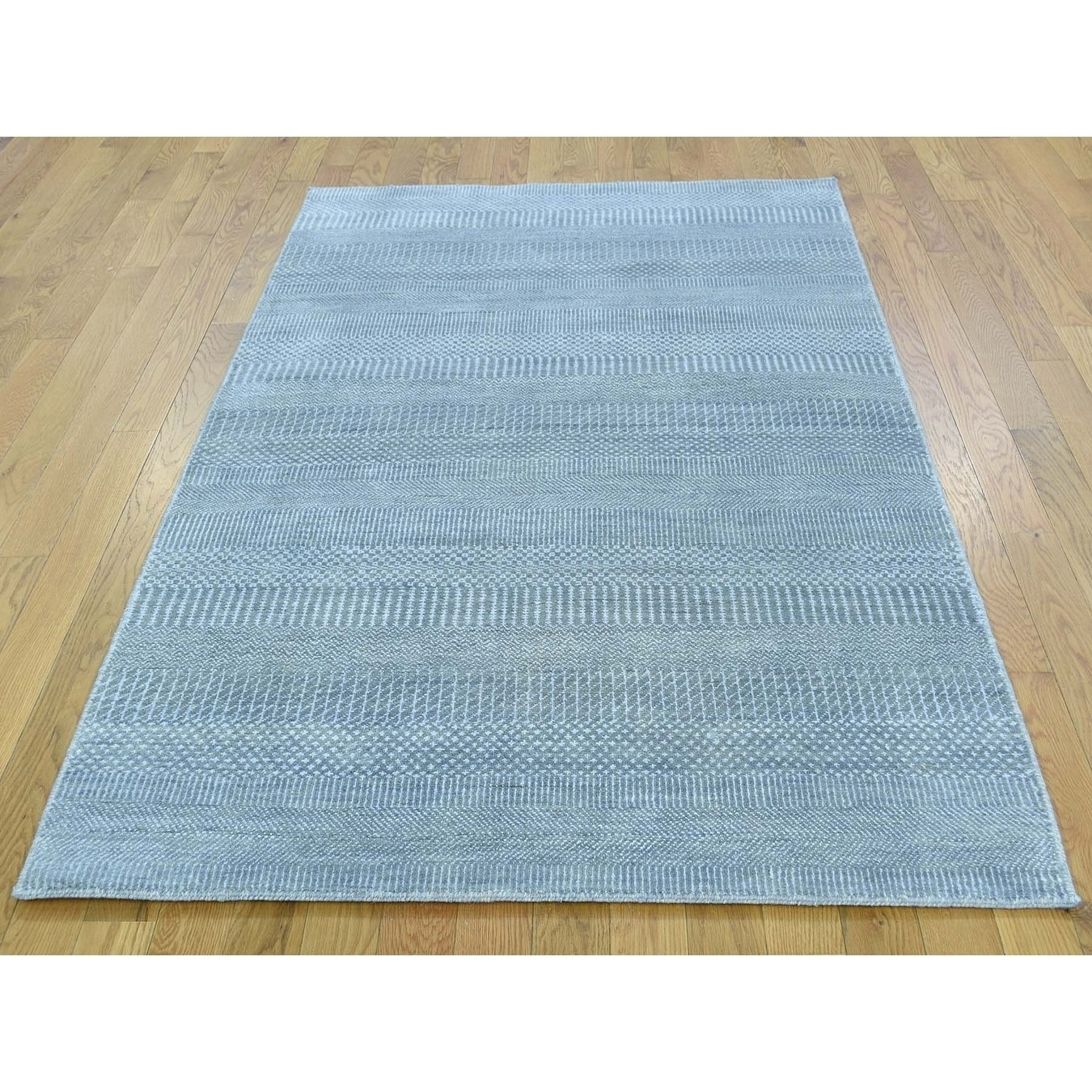 Hand Knotted Blue Modern & Contemporary with Wool & Silk Oriental Rug - 4 x 6