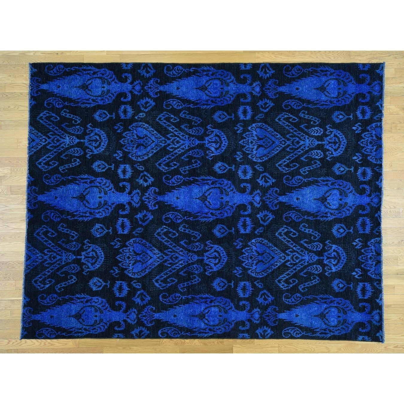 Hand Knotted Black Overdyed & Vintage with Wool Oriental Rug - 8 x 103