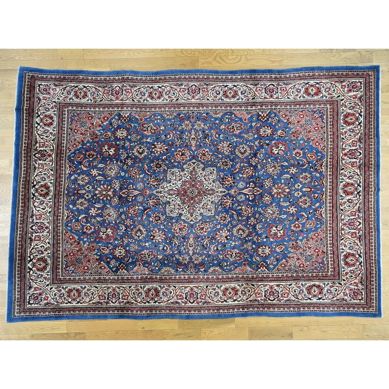 Hand Knotted Blue Persian with Wool Oriental Rug - 9 x 13