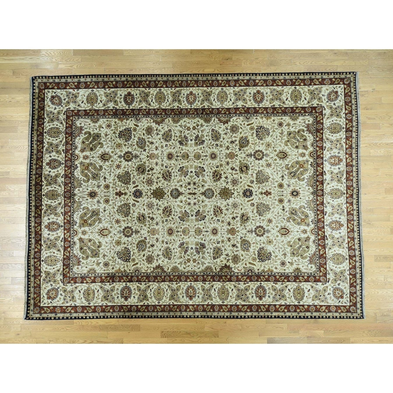 Hand Knotted Ivory Fine Oriental with Wool Oriental Rug - 102 x 137