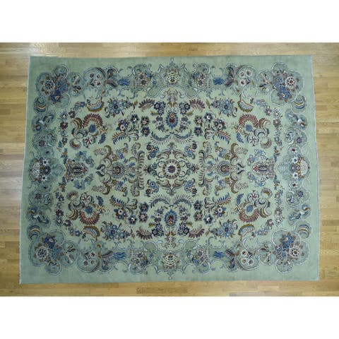 Hand Knotted Green Persian with Wool Oriental Rug - 10'7 x 13'9