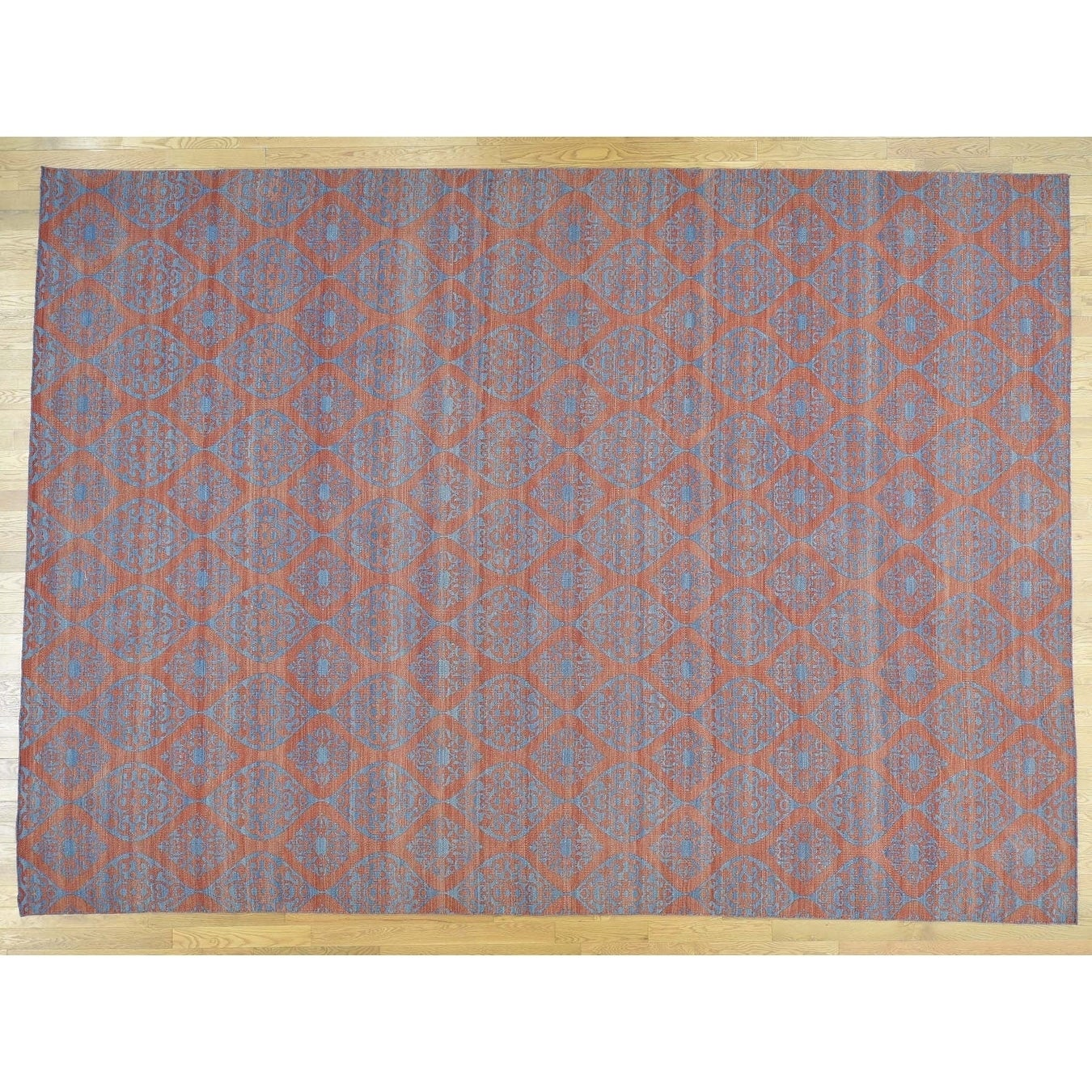 Hand Knotted Teal Flat Weave with Wool Oriental Rug - 910 x 1310