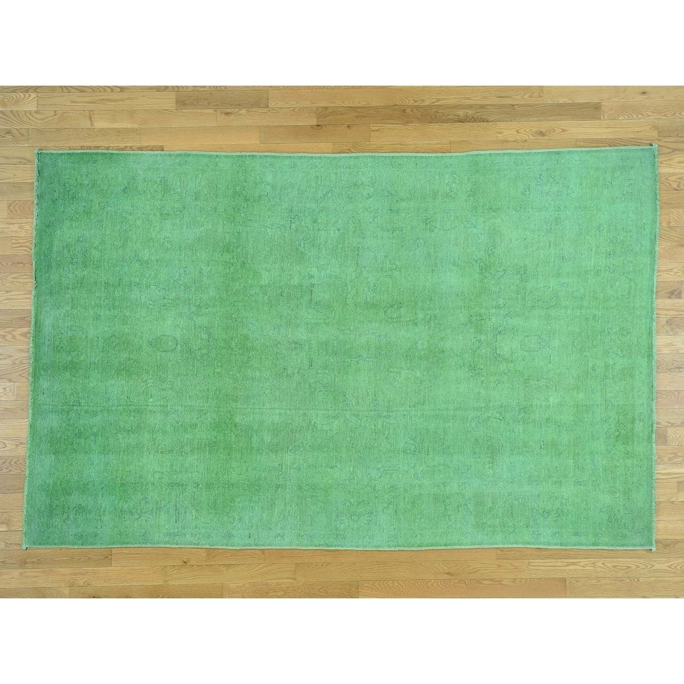 Hand Knotted Green Overdyed & Vintage with Wool Oriental Rug - 6 x 93