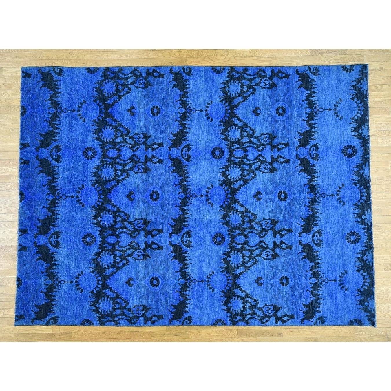 Hand Knotted Blue Overdyed & Vintage with Wool Oriental Rug - 91 x 122