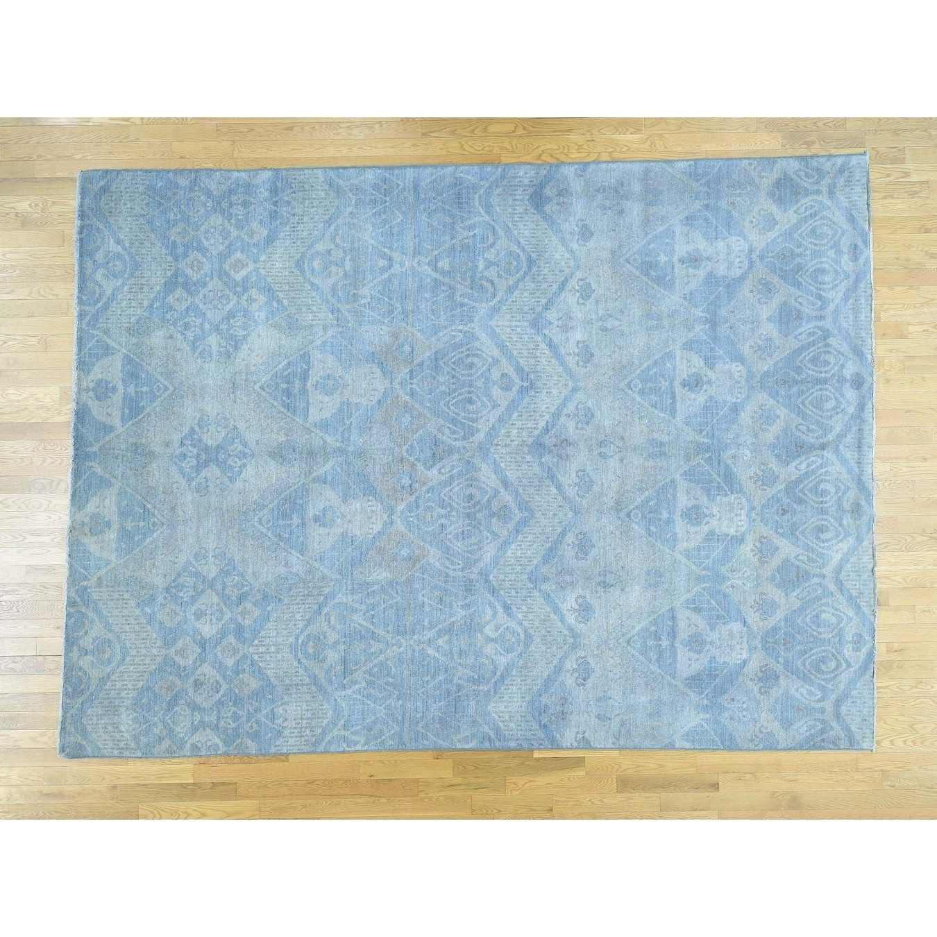 Hand Knotted Blue Overdyed & Vintage with Wool Oriental Rug - 92 x 122