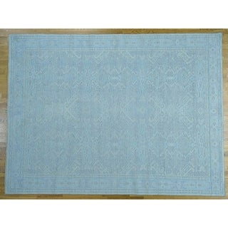 Hand Knotted Green Oushak And Peshawar with Wool Oriental Rug - 9' x 12'