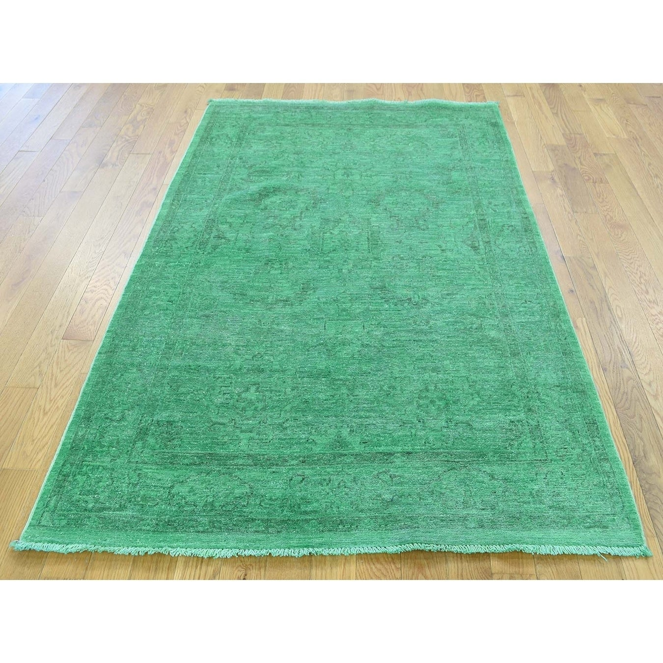 Hand Knotted Green Overdyed & Vintage with Wool Oriental Rug - 4 x 6