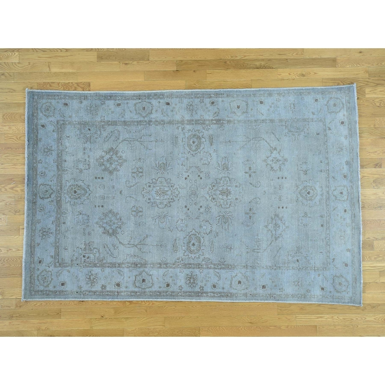 Hand Knotted Blue White Wash Vintage & Silver Wash with Wool Oriental Rug - 510 x 89