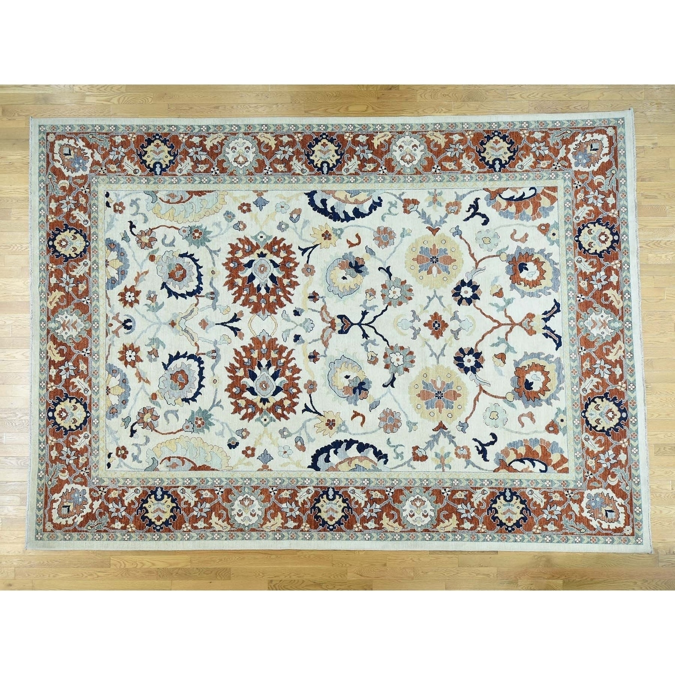 Hand Knotted Ivory Oushak And Peshawar with Wool Oriental Rug - 8 x 98