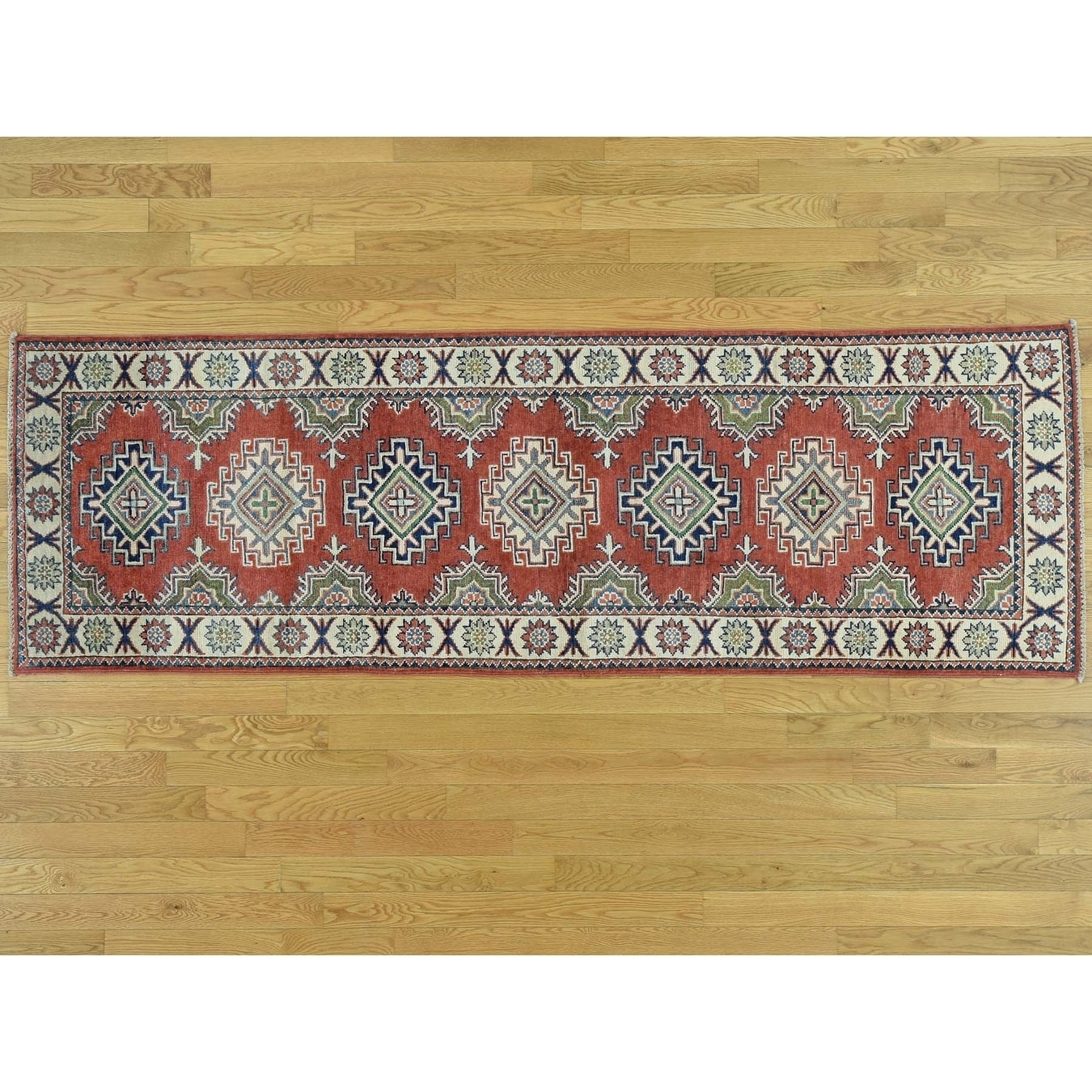 Hand Knotted Red Kazak with Wool Oriental Rug - 28 x 84