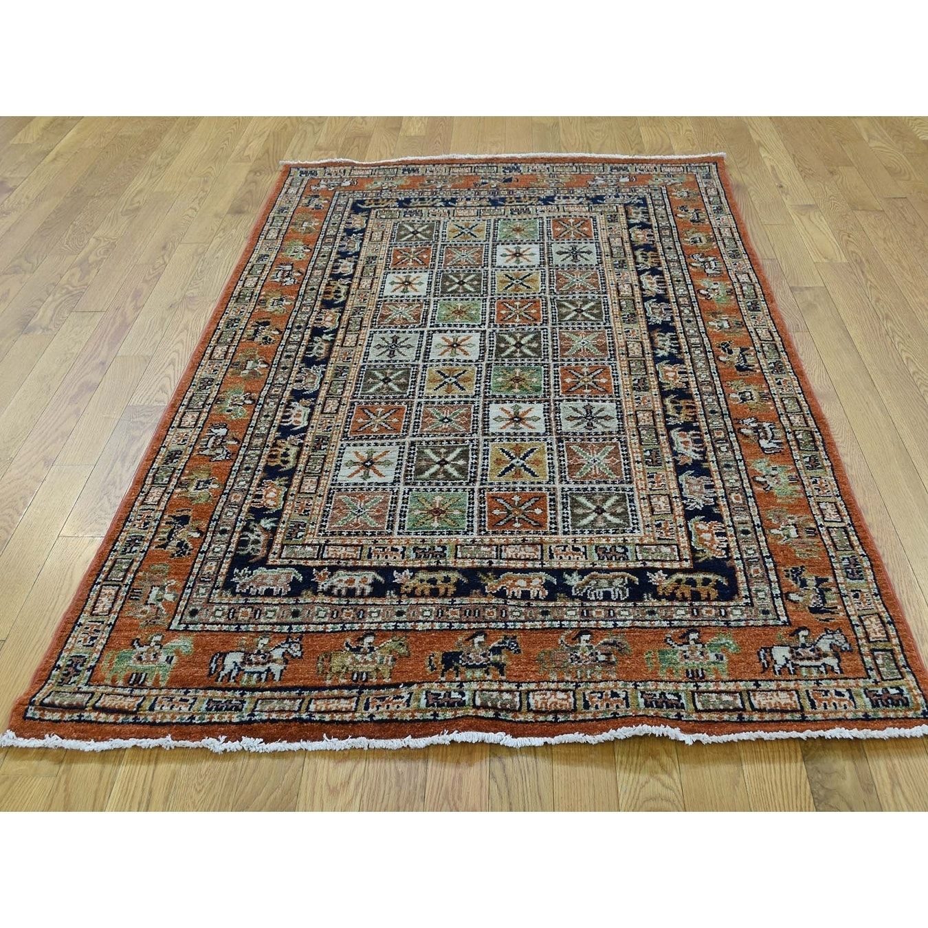 Hand Knotted Multicolored Tribal & Geometric with Wool Oriental Rug - 43 X 66