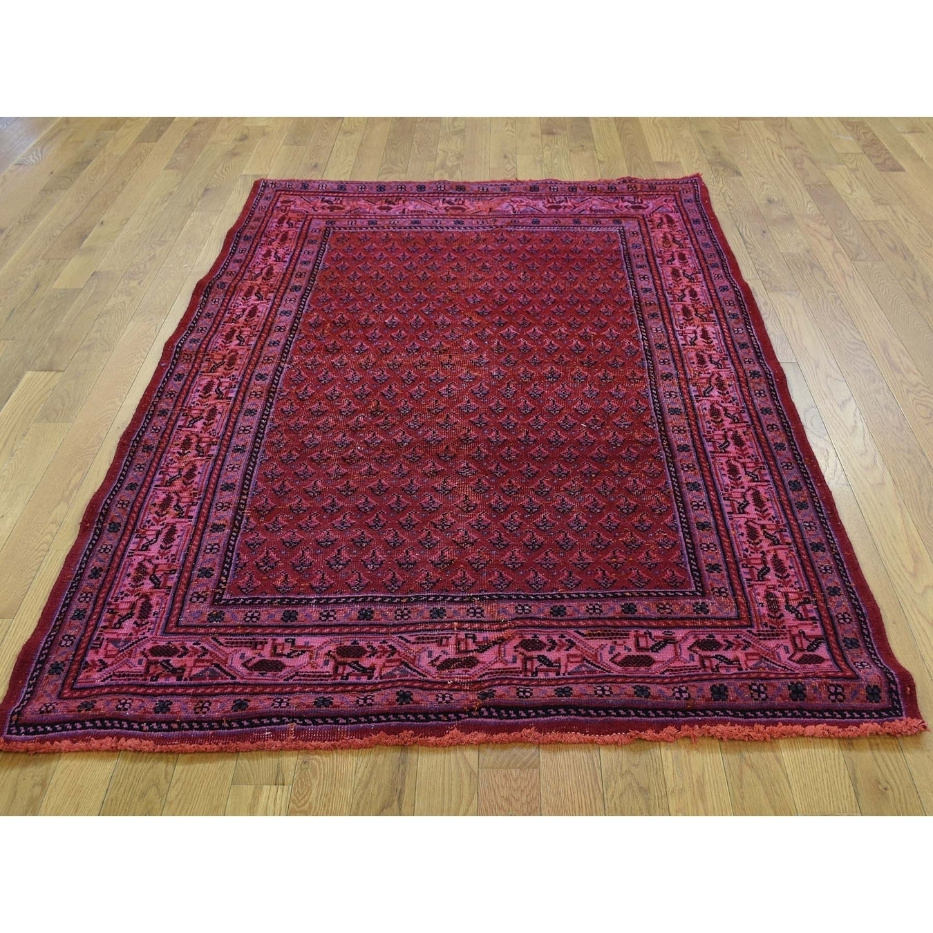 Hand Knotted Red Overdyed & Vintage with Wool Oriental Rug - 44 x 67