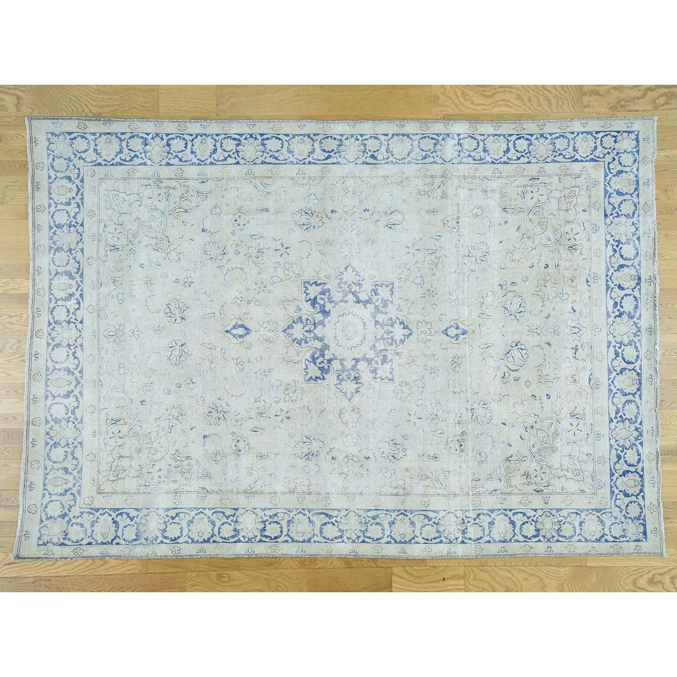 Hand Knotted Ivory White Wash Vintage & Silver Wash with Wool Oriental Rug - 710 x 116